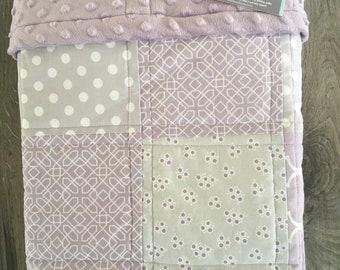 Patchwork Baby Quilt~ Girl Minky Blanket~ Baby Girl Quilt~ Crib Quilt~ Purple Baby Blanket~ Baby Quilt