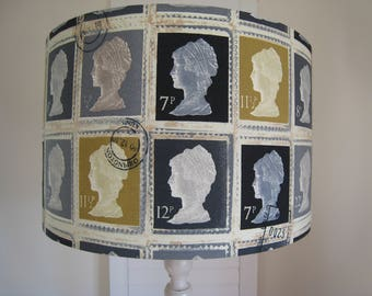 Stamp lampshade Vintage Postage Stamps Handmade Lamp Shade