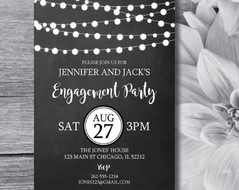 Engagement Invitation | Engagement Party | String Lights | Chalkboard | Engagement Party Invites | Rustic Engagement Party