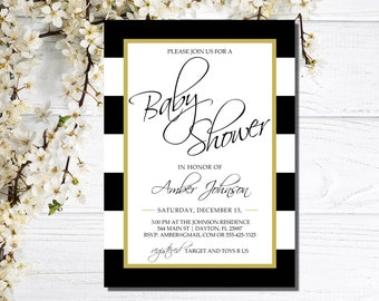 Baby Shower Invitations | Black and White Baby Shower Invitations | Gold Black White Baby Invites | Elegant Baby Shower Invites | Co-Ed