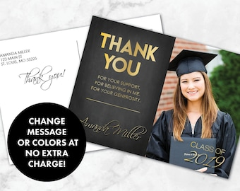 graduation thank you card thank you graduation card graduation party thank you class of 2019 graduation thank you card with photo