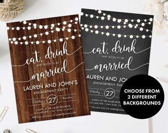 engagement invitations engagement party invites eat drink etsy