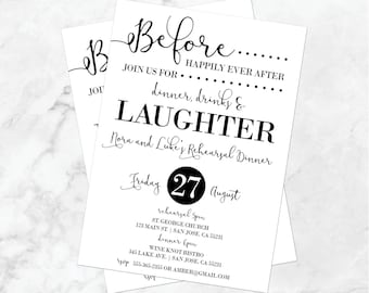 Rehearsal Dinner Invitation | Rehearsal Invitations | Wedding Rehearsal | Before Happily Ever After | Dinner, Drinks and Laughter | Invites