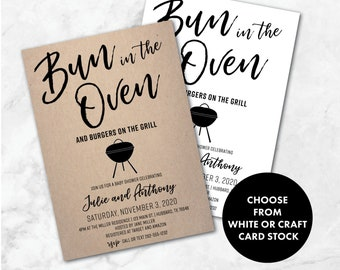 Bun in the Oven   Burgers on the Grill   Baby-Q Shower Invitation   Baby-Q Invitation   Baby BBQ Invites   Baby Brewing