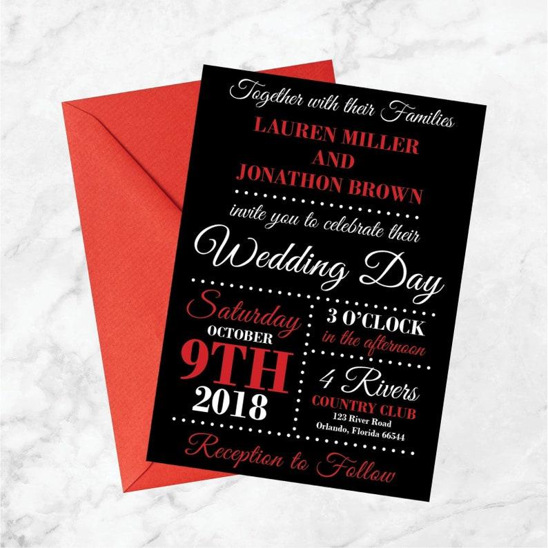 Red And Black Wedding Invitations Black Red White Wedding Etsy