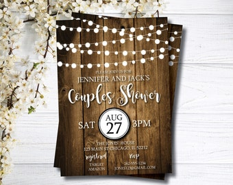 Couples Shower Invitation | Bridal Shower Invite | Fall Wedding Shower | String Lights | Rustic Bridal Shower | Backyard I Do BBQ | Country