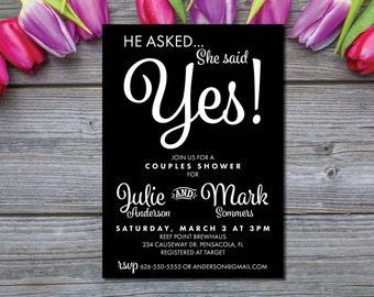 Couples Shower Invites | Bridal Shower Invitation | Formal Wedding Shower | Black and White | He asked, She said Yes | Elegant Bridal Shower