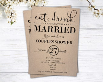 Couples Shower Invitation | Couples Shower Invite | Eat, Drink and Soon to be Married |Invitations | Rustic Wedding Shower | Shabby Chic