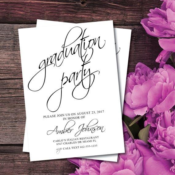 graduation party invitation elegant graduation party black etsy