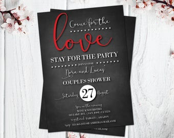 Couples Shower Invitations | Red and Black | Come for the Love, Stay for the Party | Bridal Shower Invites | Chalkboard | Elegant Bridal