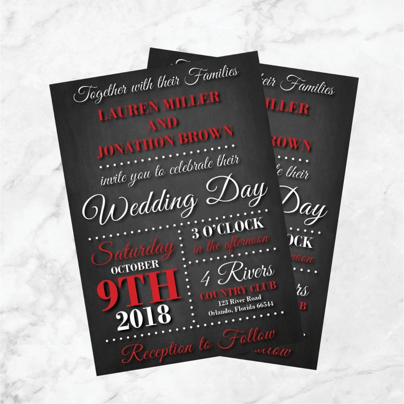 Red And Black Wedding Invitations Chalkboard Wedding Invites Etsy