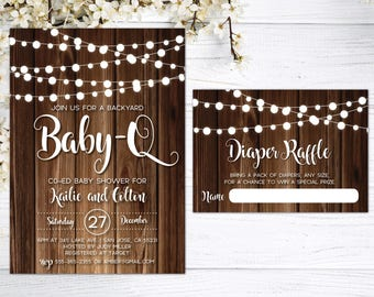 Baby-Q Invitation | BabyQ Baby Shower Invitation | Baby-Q Shower | Baby Q | Rustic Baby Shower | Couples Baby Shower | Baby BBQ | Beer & BBQ