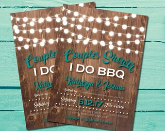 Couples Shower Invitation | I Do BBQ Couples Shower Invites | Turquoise | Rustic Bridal Shower | String Lights | Backyard I Do BBQ | Country