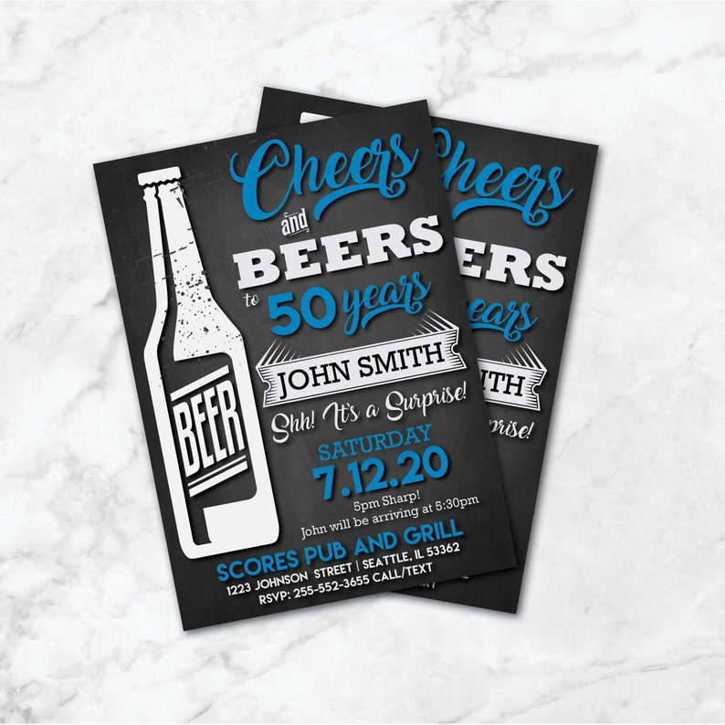 Invitations d'anniversaire en anglais Cheers and Beers | Etsy