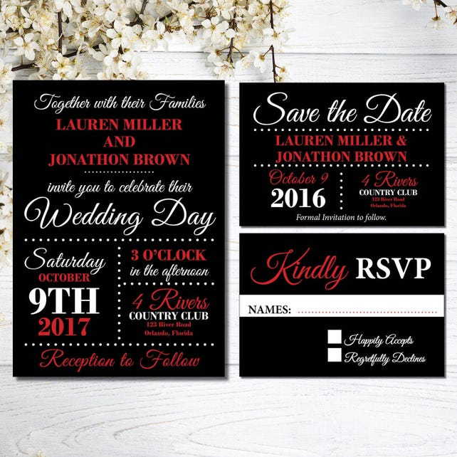 Red And Black Wedding Invitations Kit Elegant Wedding Invites