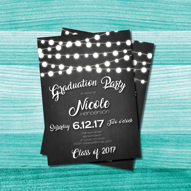 Invitación fiesta de graduación de pizarra Cadena de luces | Etsy