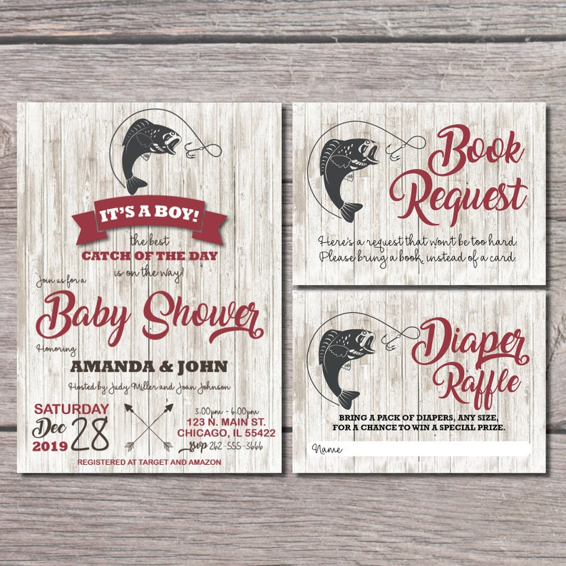 Fishing Baby Shower Invitations | Fishing Shower Invitations | Fishing  Theme Party Invites | Nautical Baby Shower | Boy Baby Shower | Red