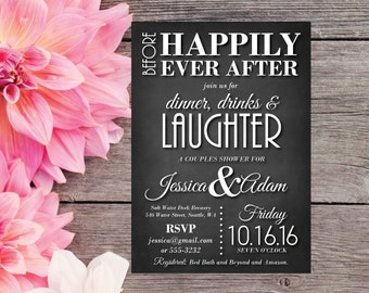 Couples Shower Invitation | Elegant Bridal Shower Invite | Chalkboard | Before Happily Ever After | Dinner, Drinks, and Laughter | Broadway