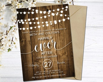 Couples Shower Invitation | Co-ed Bridal Shower Invite | Rustic Couples Shower | Wood | String Lights | Happily Ever After | Country Wedding