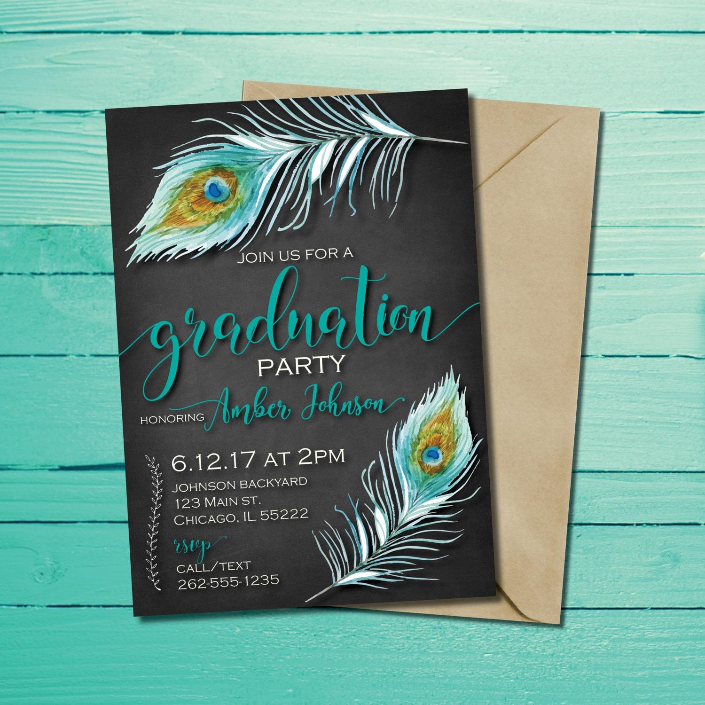 Invitación de graduación de pluma de pavo real Tarjeta de | Etsy