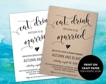 Rustic Couples Shower Invitation | Wedding Shower Invites | Shabby Chic Bridal Shower Invitations | Eat, Drink and Soon to be Married