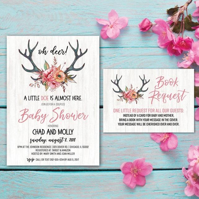 Oh Deer Invite | Oh Deer Baby Shower Invitation | Little Doe | Wilderness | Rustic Baby Shower | Antlers | Rustic Floral Baby | Tribal Baby