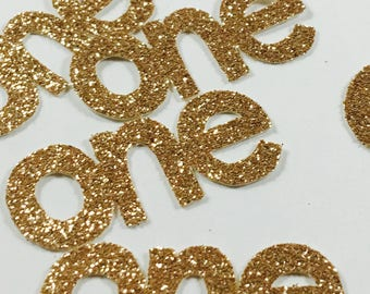 Gold Glitter 1.5 Inch Number One Die Cuts/Confetti-Baby Shower, Wedding, Anniversary, Party Favors, Party Decor