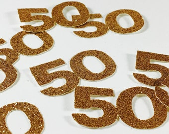 Gold Glitter 1.5 Inch Number 50 Die Cuts/Confetti-Baby Shower, Wedding, Anniversary, Party Favors, Party Decor