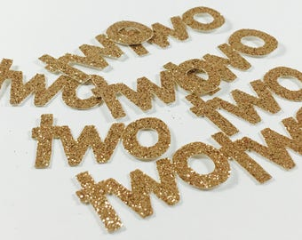 Gold Glitter 1.5 Inch Number Two Die Cuts/Confetti-Baby Shower, Wedding, Anniversary, Party Favors, Party Decor