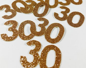 Gold Glitter 1.5 Inch Number 30 Die Cuts/Confetti-Baby Shower, Wedding, Anniversary, Party Favors, Party Decor