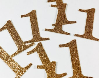 Gold Glitter 1.5 Inch Number 1 Die Cuts/Confetti-Baby Shower, Wedding, Anniversary, Party Favors, Party Decor