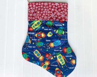 Rocket Christmas stocking, Space, Astronaut, Outer space, Rocket ship, Space Ship, christmas custom handmade stockings, Christmas gift