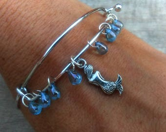 Mermaid Bracelet, Mermaid Love Jewelry, Aqua Blue Teardrops Charm Bangle Bracelet, Ocean Beach Bracelet, Sea Lovers Gift, Little Mermaid