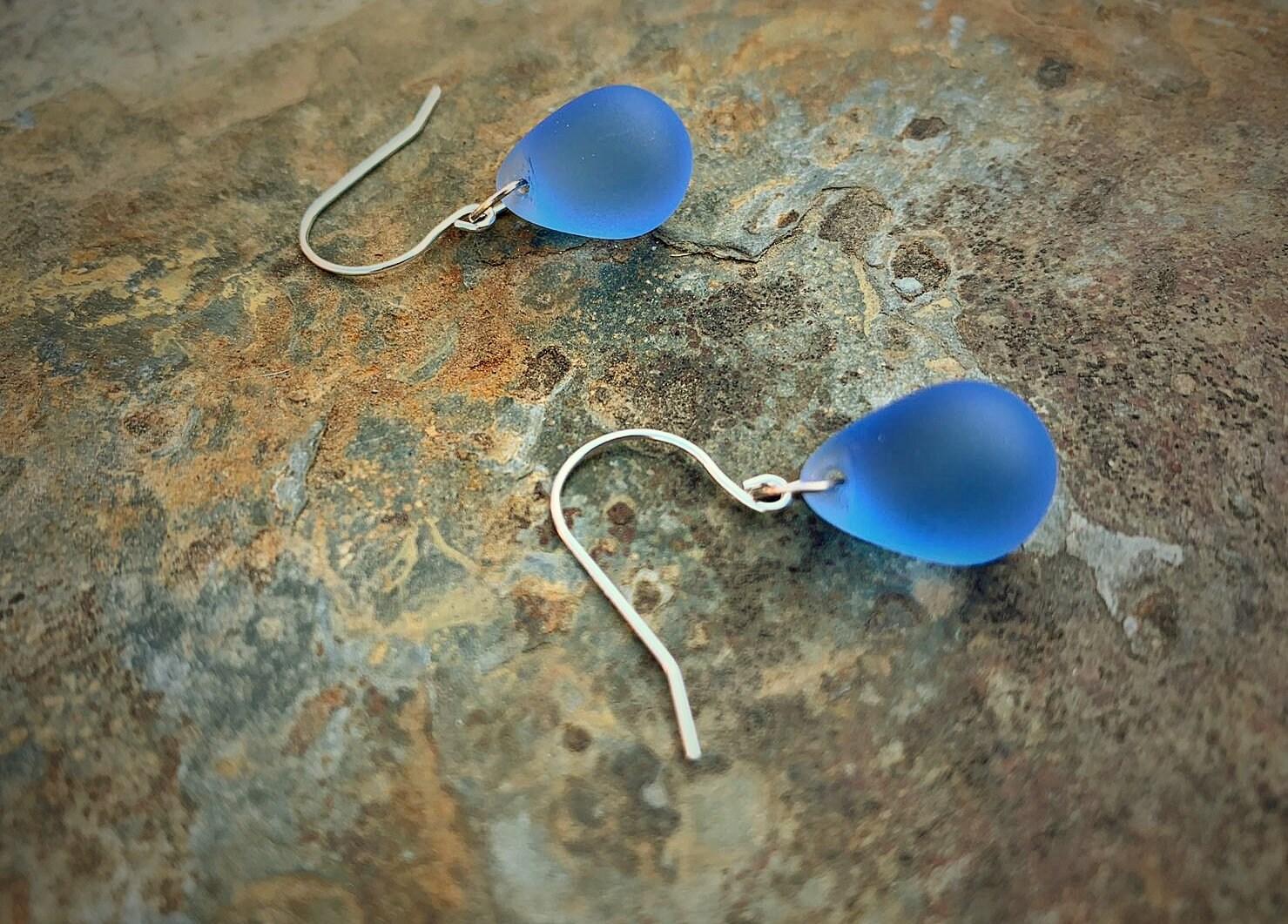 Light blue earrings Sea glass earrings sterling silver Briolette earrings