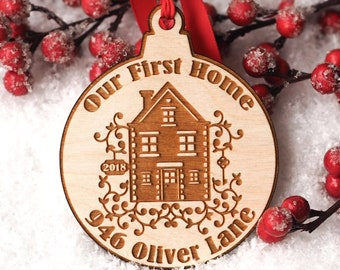 First Home Ornament Personalized - Custom Ornament - Christmas Ornament - Our First Home - Housewarming Gift - First Home - Closing Gift