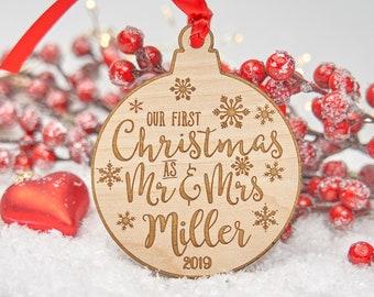 Personalised - First Christmas as Mr & Mrs - Married - Wedding Ornament - Personalized Christmas Ornament - Wooden Ornament - Keepsake