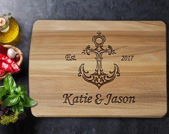 Personalized Cutting Board - Nautical Wedding Gift - Custom Cutting Board - Wedding Gift - Nautical Cutting Board - Nautical - Anchor Decor