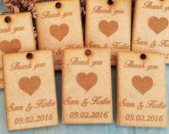 Personalized Wedding Favors - Wedding Decoration - Thank you Cards - Rustic Wedding Favors - Wedding Table Decorations - 30 Thank You Cards