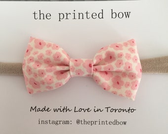 Pink Floral small bow headband
