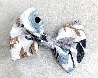 Blue Floral Darling Bow / Bow Clip / Baby Clip