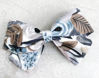 Blue Floral Ava Bow / Sailor Bow / Clip