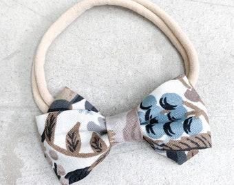 Blue Floral Twist Bow / Bow Headband / Nylon Headband