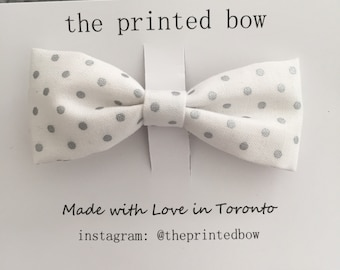 Silver dot sweet bow clip