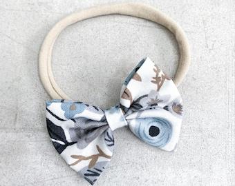 Blue Floral Darling Bow / Bow Headband / Nylon Headband