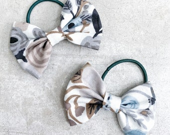 Blue Floral Darling Bow / Bow Pigtails / Bows