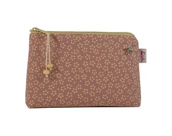 Cosmetic bag flowers old pink beige, cosmetic bag, make-up bag, small bag for the handbag