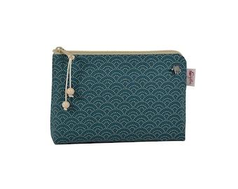 Cosmetic bag, cosmetic bag, make-up bag, makeup bag, petrol with waves, small bag for the handbag