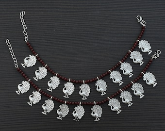 Maroon and White beaded anklet