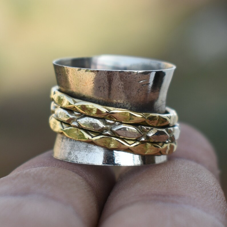 Wide spinner rings Yoga /& Spiritual Ring Handcrafted fusion jewelry Tribal Wide Jewelry Ring  R540 Indian Meditation Spinner Jewelry