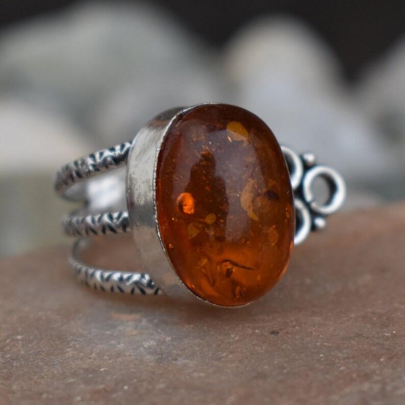 6b8fb7eaebbc2f 19x14 mm pierścień z bursztynu Owalny pierścień kamienny | Etsy